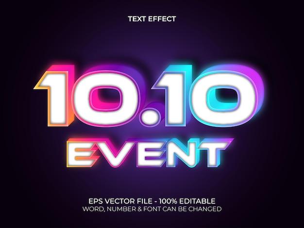 Kleurrijke neonlicht-teksteffectstijl bewerkbaar tekstlettertype-effect 1010 gebeurtenisthema
