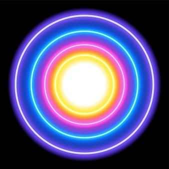 Kleurrijke neonlichtcirkels, abstracte achtergrond, vectorillustratie in eps10-formaat