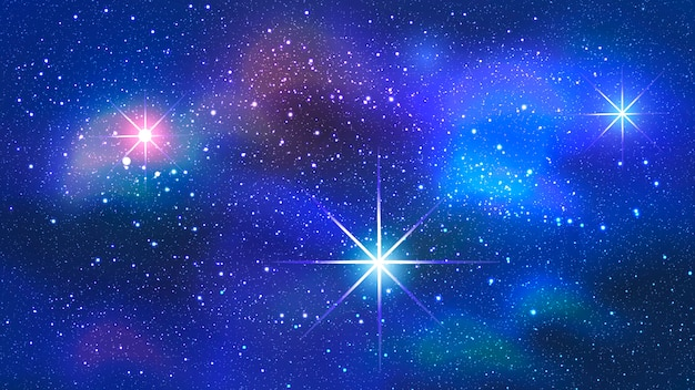Kleurrijke nevel op ruimteachtergrond.