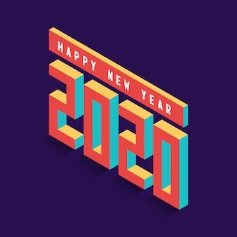 Kleurrijke nieuwe het ontwerpillustratie van de jaar vector isometrische kunst