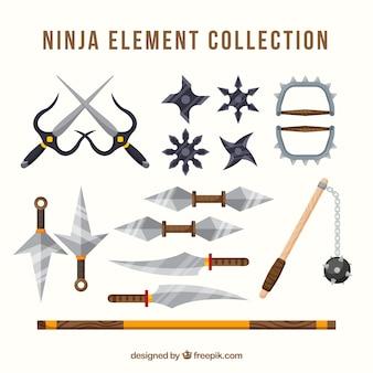 Kleurrijke ninja-elementencollectie met plat ontwerp