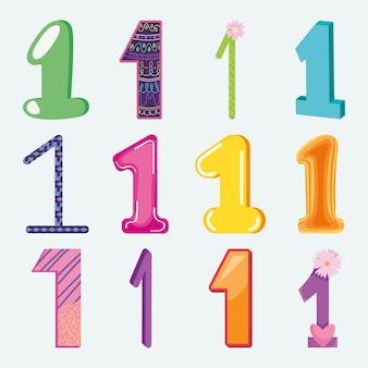 Kleurrijke nummer één set