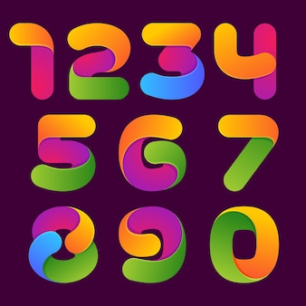 Kleurrijke nummers ingesteld. lettertype