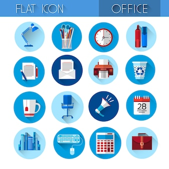 Kleurrijke office set icon collection