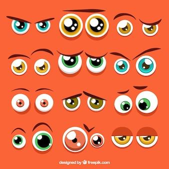 Kleurrijke ogen verzameling tekens