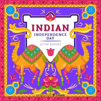 Kleurrijke onafhankelijkheidsdag van de achtergrond van india