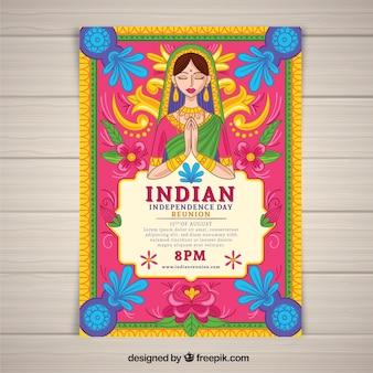 Kleurrijke onafhankelijkheidsdag van de affiche van india