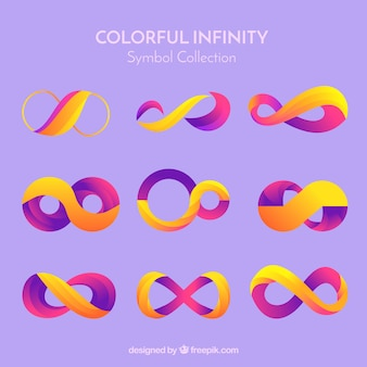 Kleurrijke oneindigheidssymboolinzameling