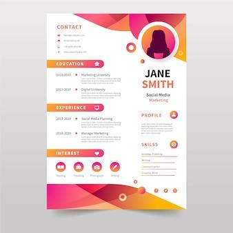 Kleurrijke online curriculum vitae-sjabloon