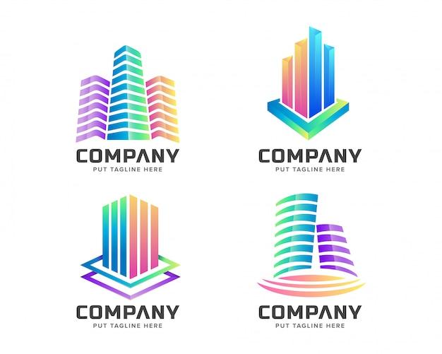Kleurrijke onroerend goed logo set collectie