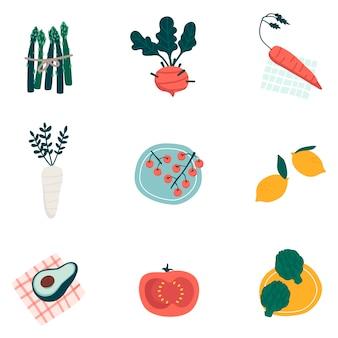 Kleurrijke organische plantaardige vastgestelde vectoren