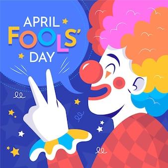 Kleurrijke organische platte april dwazen dag illustratie Gratis Vector