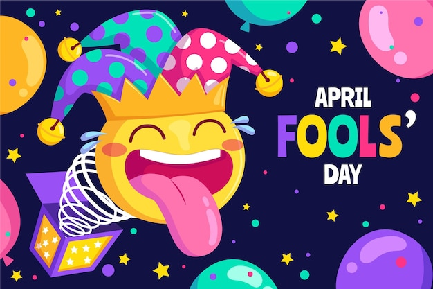 Kleurrijke organische platte april dwazen dag illustratie