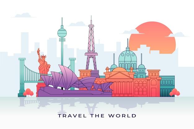 Kleurrijke oriëntatiepuntenhorizon met beroemde gebouwen