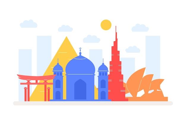 Kleurrijke oriëntatiepuntenhorizon met gebouwen