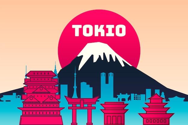 Kleurrijke oriëntatiepuntenhorizon voor tokyo
