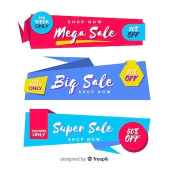 Kleurrijke origami stijl verkoop banner set