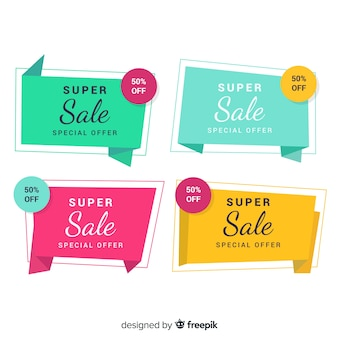 Kleurrijke origami verkoop banner pack