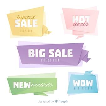 Kleurrijke origami verkoop banners