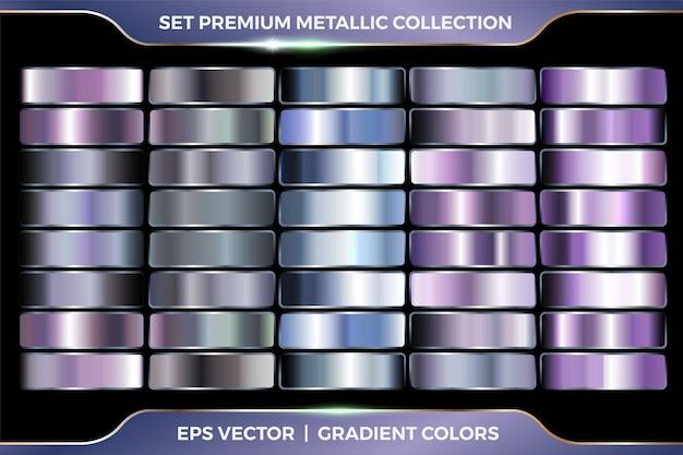 Kleurrijke paars en azuurblauwe collectie van verlopen grote set van metallic zilver paletten sjabloon
