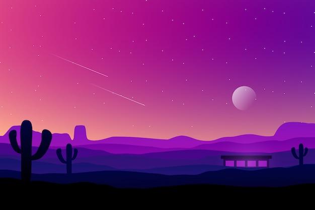 Kleurrijke paarse hemel met cactus en woestijnlandschap