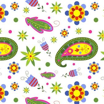 Kleurrijke paisley naadloze patroon sjabloon op witte achtergrond