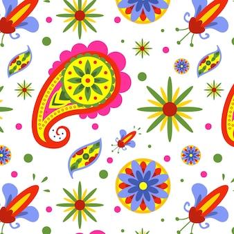 Kleurrijke paisley naadloze patroon sjabloon