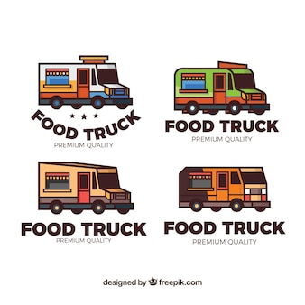 Kleurrijke pak handgemaakte voedsel vrachtwagen logo's