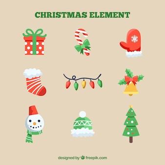 Kleurrijke pak kerst elementen