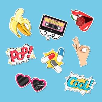 Kleurrijke pak komische stickers