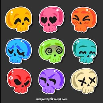 Kleurrijke pak van schedels stickers