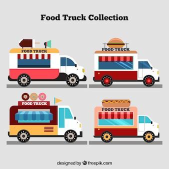 Kleurrijke pak vintage vrachtwagens