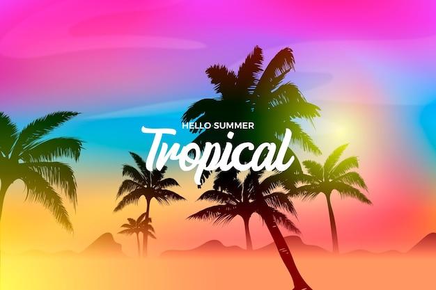 Kleurrijke palm silhouet achtergrond