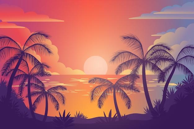 Kleurrijke palm silhouetten achtergrond