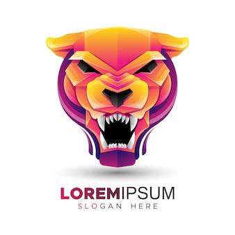 Kleurrijke panther hoofd logo sjabloon