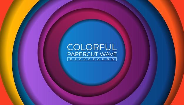Kleurrijke papercut circle wave achtergrond