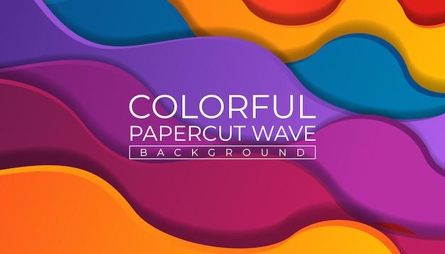 Kleurrijke papercut wave achtergrond