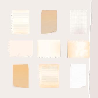 Kleurrijke papieren notitiecollectie sociale advertentiesjabloon