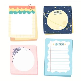 Kleurrijke papieren notities collectie.