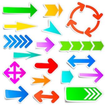 Kleurrijke papieren pijl stickers instellen