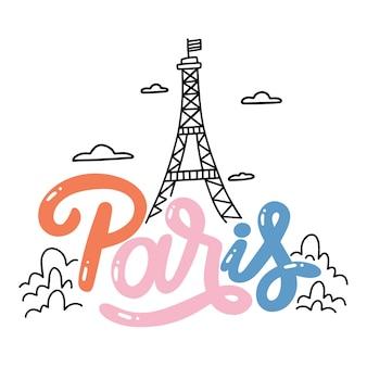 Kleurrijke parijs stad belettering