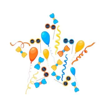 Kleurrijke partij set items op een witte achtergrond. viering evenement gelukkige verjaardag. veelkleurig. vector.