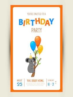 Kleurrijke partij uitnodigingskaart met een schattige koala op een witte achtergrond. viering evenement gelukkige verjaardag. veelkleurig. vector.