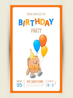 Kleurrijke partij uitnodigingskaart met een teddybeer op een witte achtergrond. viering evenement gelukkige verjaardag. veelkleurig. vector.