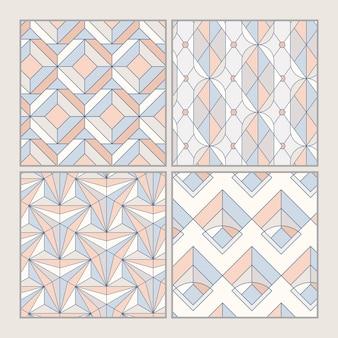 Kleurrijke pastel geometrische naadloze patronen instellen