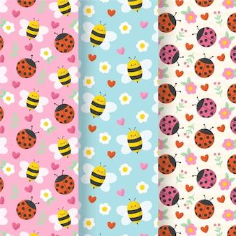 Kleurrijke patronen met verschillende bugs set
