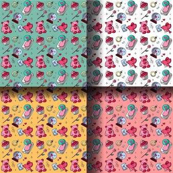 Kleurrijke patroon doodle valentijnsdag thema met bear cake en telefoon