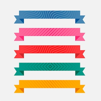 Kleurrijke patroon linten set van vijf