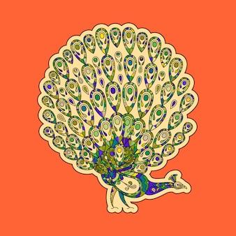 Kleurrijke pauwsticker