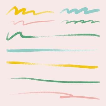 Kleurrijke penseelstreek element vector set